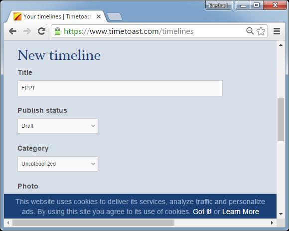 Create timeline with timetoast