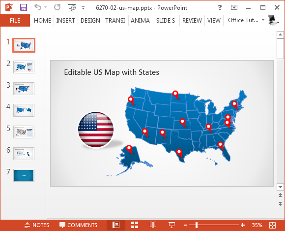 Editable US map for PowerPoint - FPPT