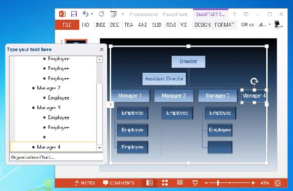 Editing SmartArt organizational chart