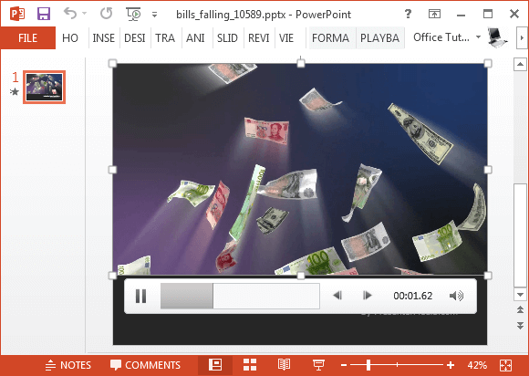 Falling money bills video animation for PowerPoint