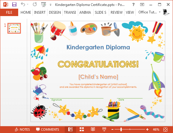 How to make a printable kindergarten diploma certificate for Name templates for preschool