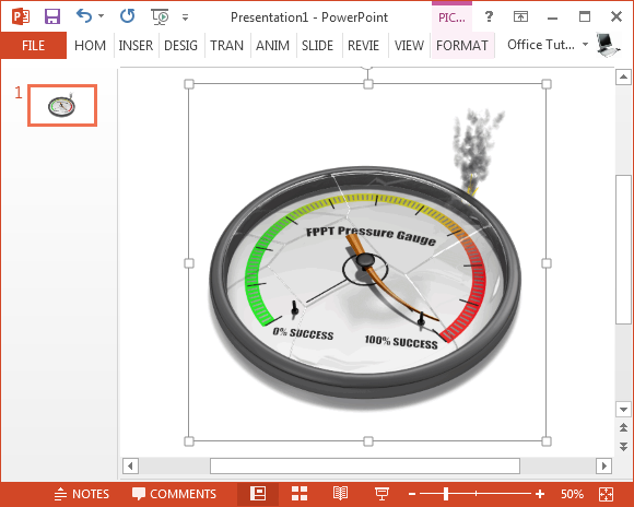 Pressure gauge animation for PowerPoint