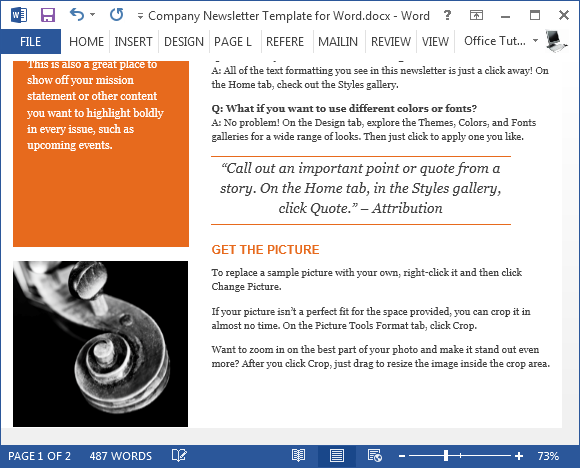 Free Company Newsletter Template For Word - Newsletter format template