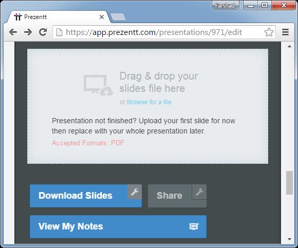 Upload PDF to Prezentt