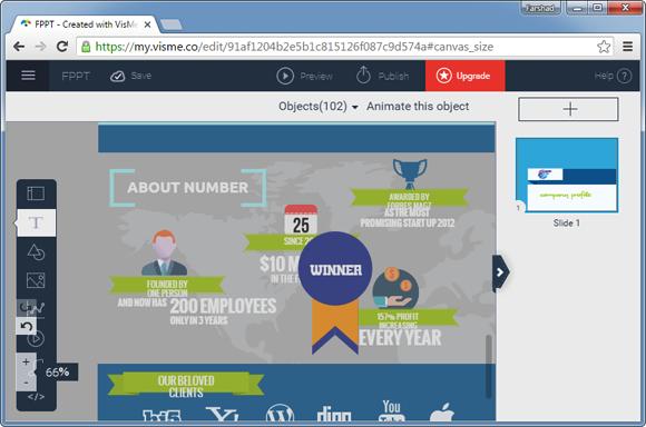 Visme infographics maker web app