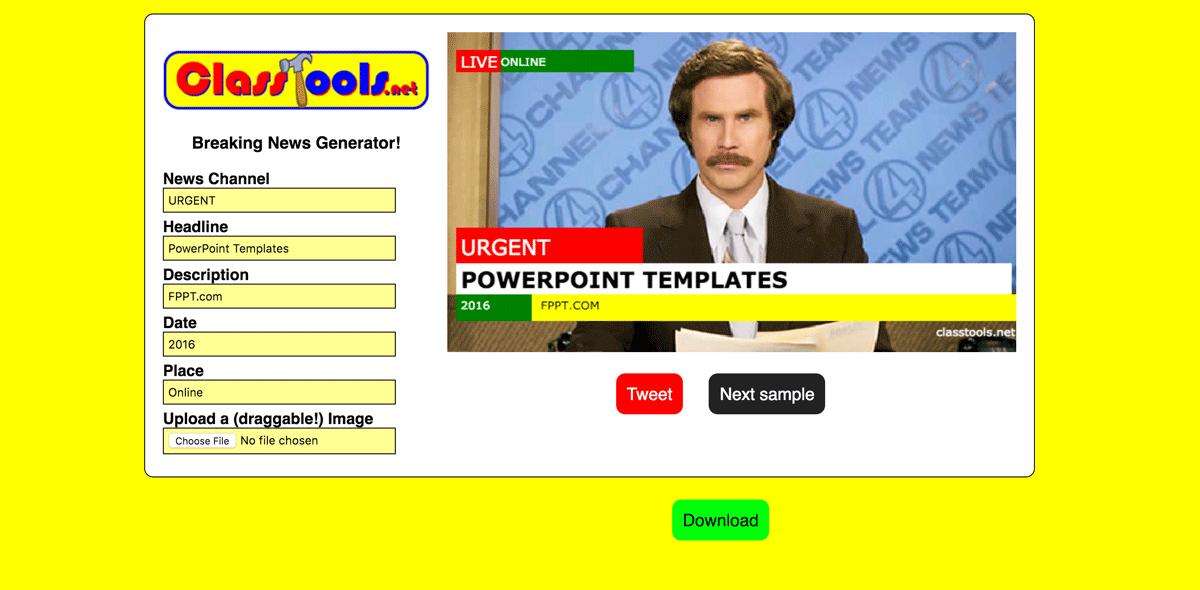 Classtools breaking news generator template fppt toneelgroepblik Image collections