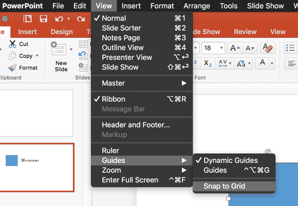 nudge objects slighly in powerpoint for mac to make pixel perfect slides