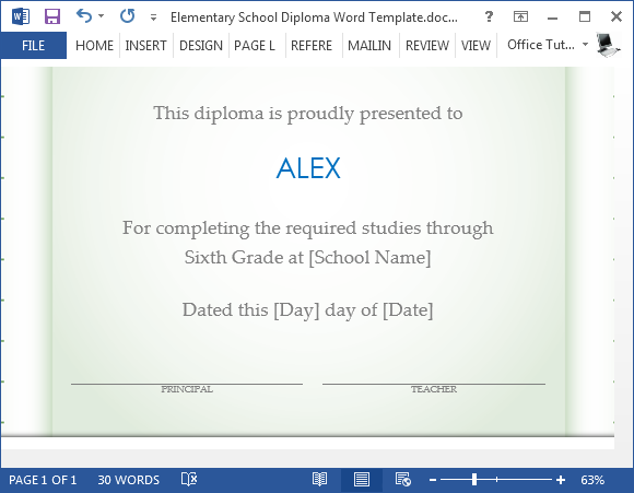 Add student name to diploma