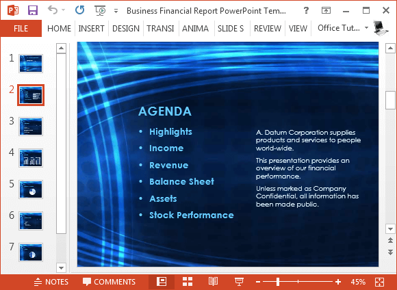 Agenda template for PowerPoint