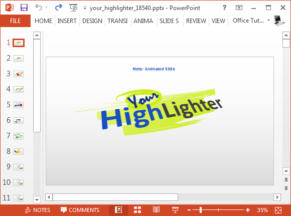 Animated highlighter PowerPoint template
