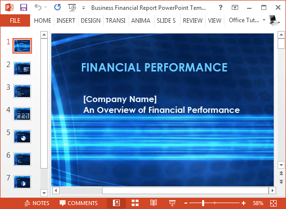 free business financial report powerpoint template