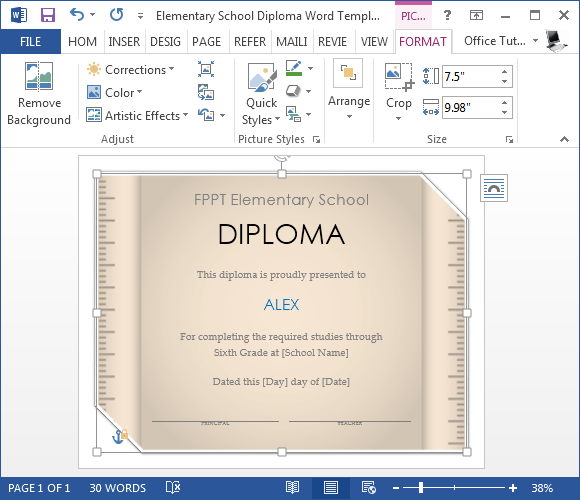 Free Elementary School Diploma Template For Word