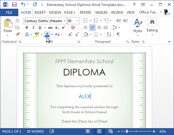 Free elementary school diploma template for word editable elementary school diploma word template yadclub Image collections