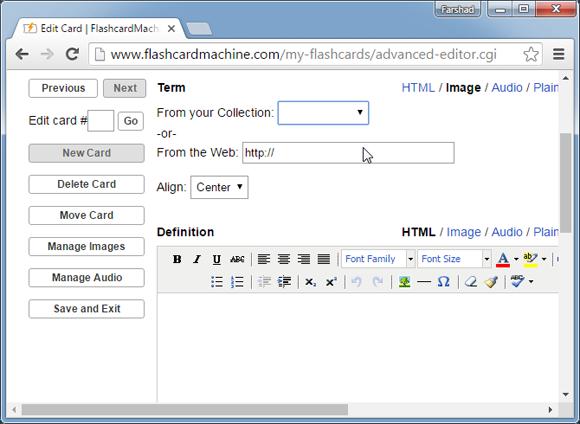 Flashcard editor