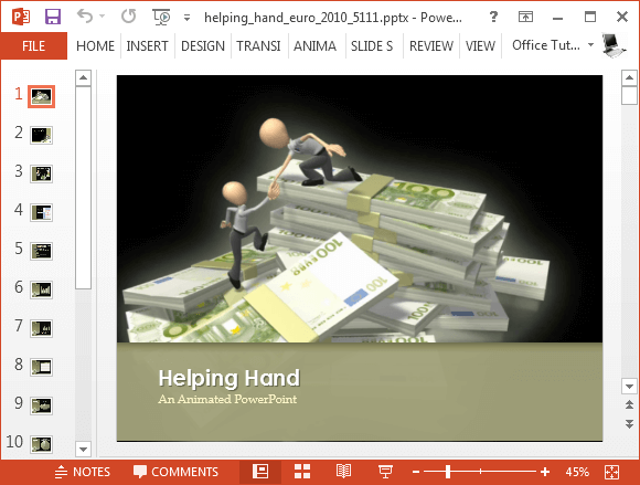 Helping hand Euro money stack PowerPoint template