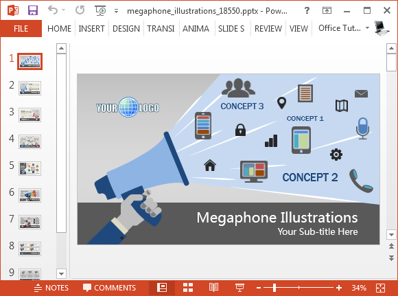 Megaphone illustrations for PowerPoint