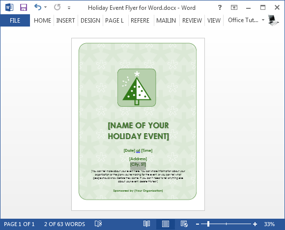 Printable holiday event flyer template