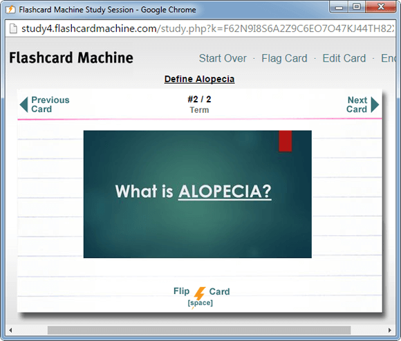 Sample flashcard for studying