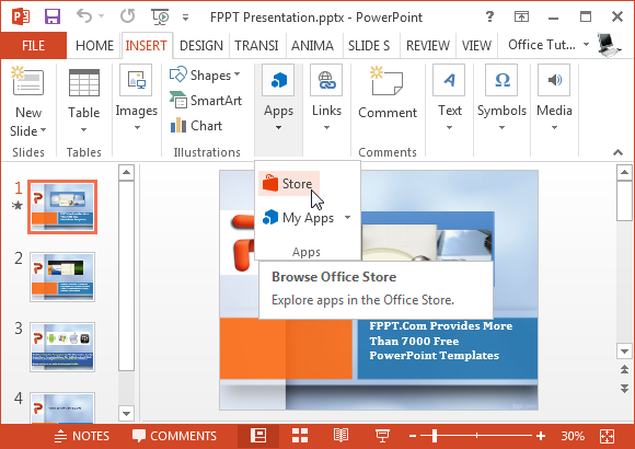 Browse Office Store in PowerPoint