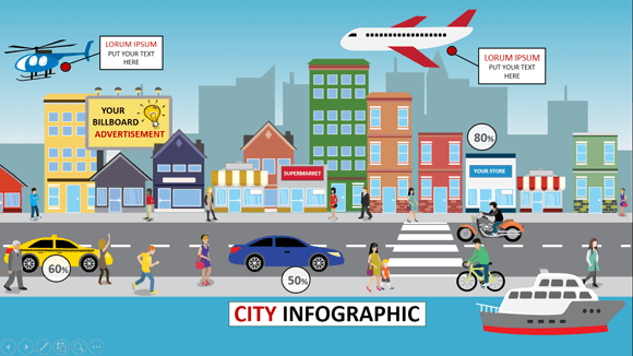 Animated city infographic powerpoint template city infographics powerpoint template toneelgroepblik Choice Image