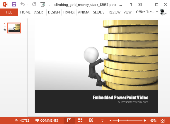 Climbing gold stack video animation for PowerPoint