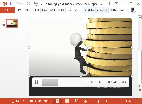 Climbing money stack PowerPoint template
