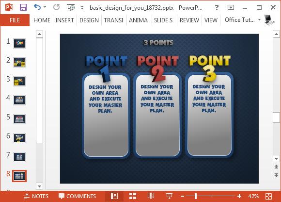 Comparison slide with 3D text