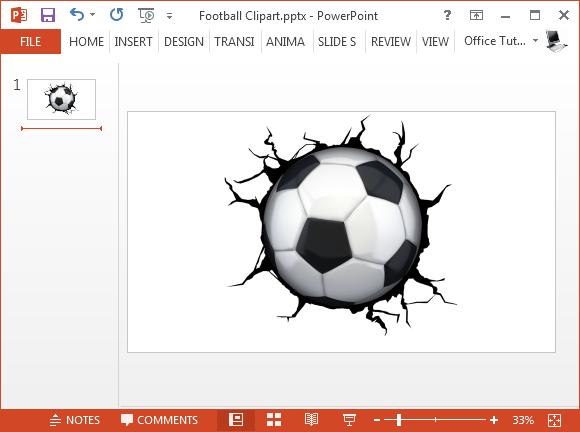 Crack wall soccer ball clipart