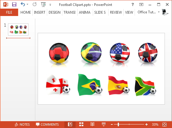 Football clipart with country flags