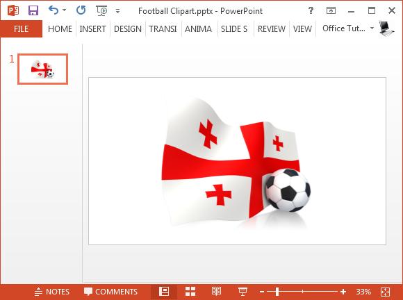 Georgian flag with soccer ball clipart
