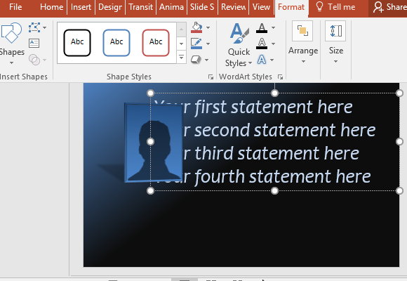 apply formatting and different styles to customize your text fppt