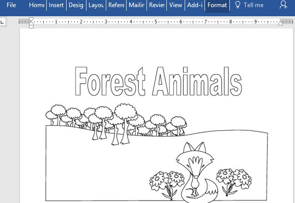Forest Themed Animal Coloring Book For Word