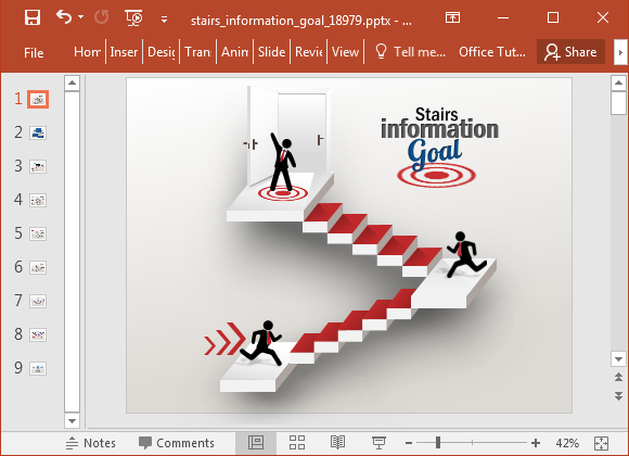 Animated stairway PowerPoint template