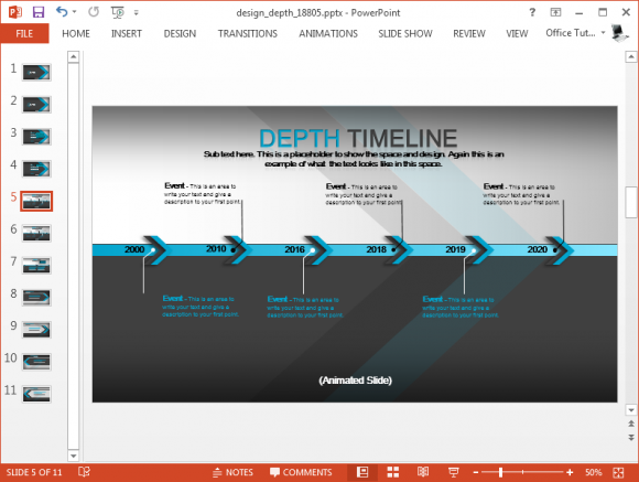 Animated timeline slide with smooth graphics