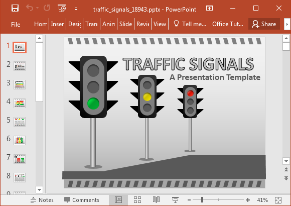 Animated traffic signals PowerPoint template