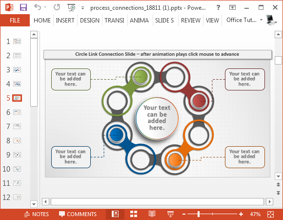 Circular diagram as an animated sequence