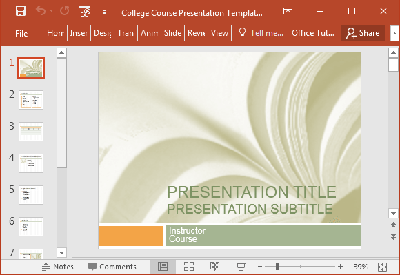College course presentation template for PowerPoint