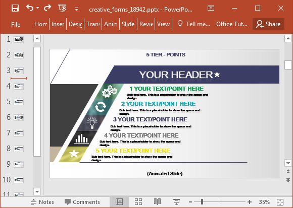 Customize slides to create infographics
