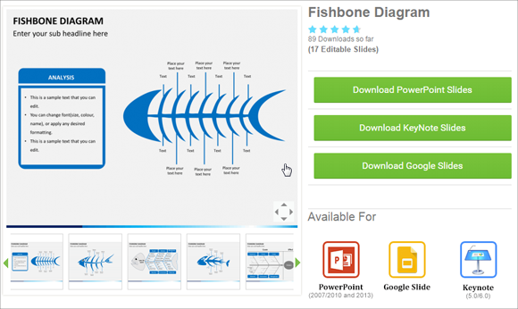 Editable fishbone diagram slide