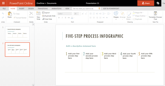 Infographic template with five step design