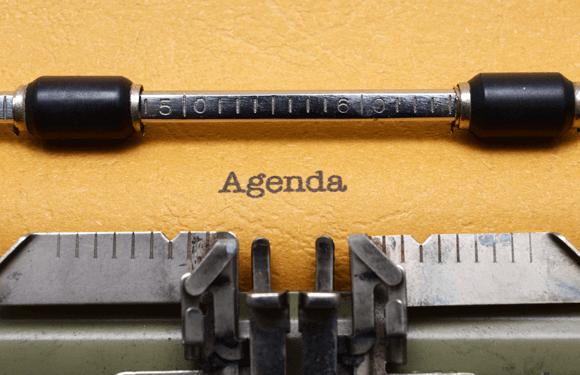 Meeting agenda slides for PowerPoint