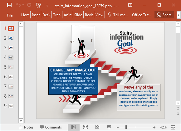 Stairs information goal PowerPoint template