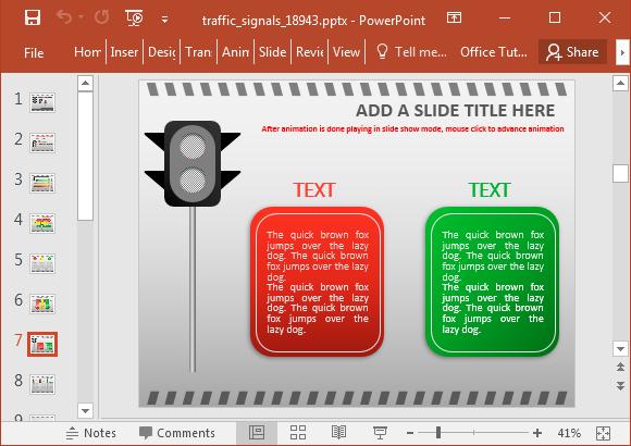 Traffic signal slide design