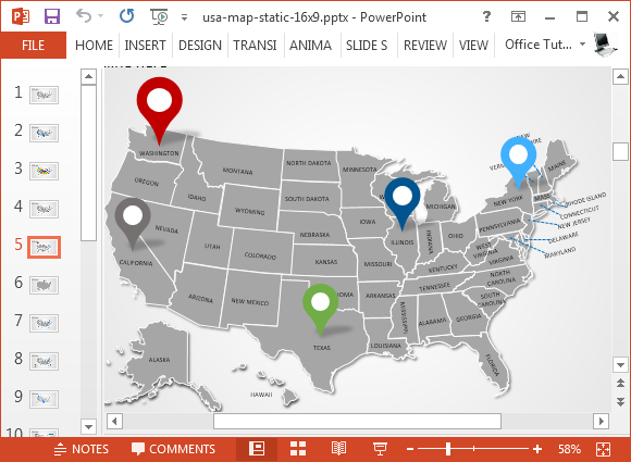 USA map template for PowerPoint with states