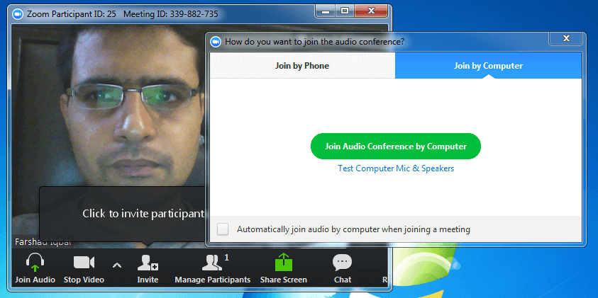 Web conferencing with Zoom app