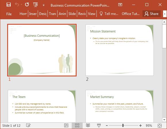 Business communication slide deck