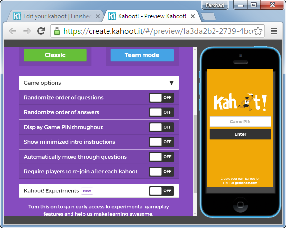 Configure kahoot settings