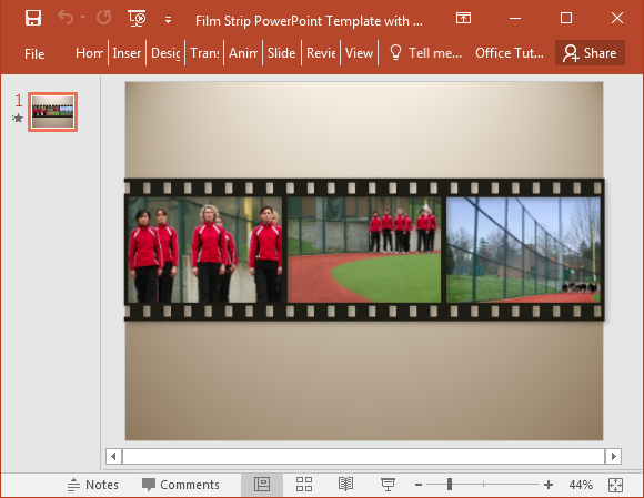 Filmstrip Powerpoint Template With Sample Video Clips