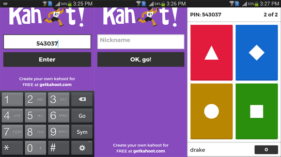 Kahoot app for Android