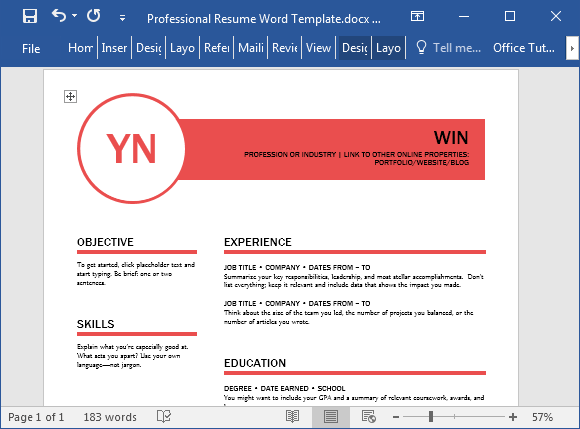 Polished Resume Template For Word